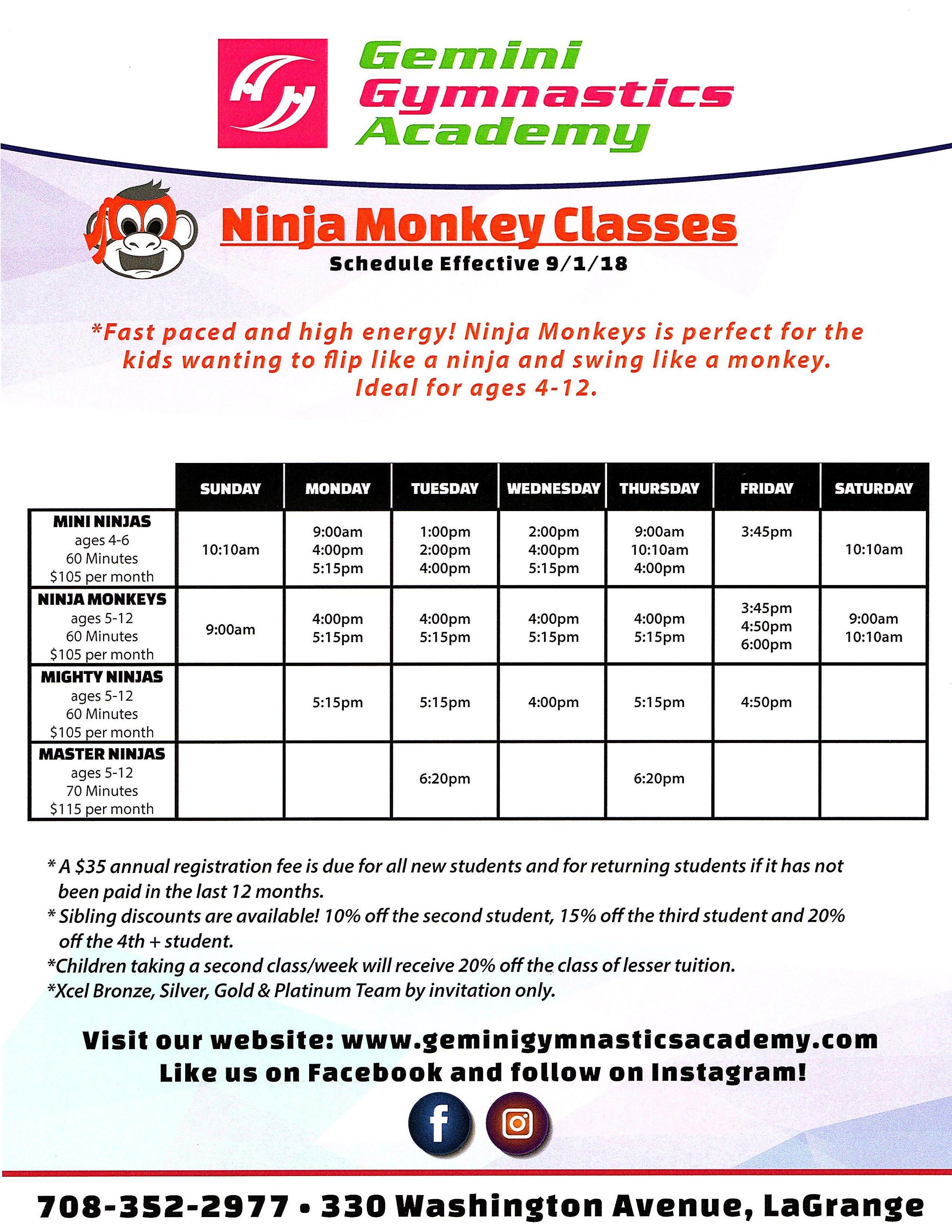Ninja schedule