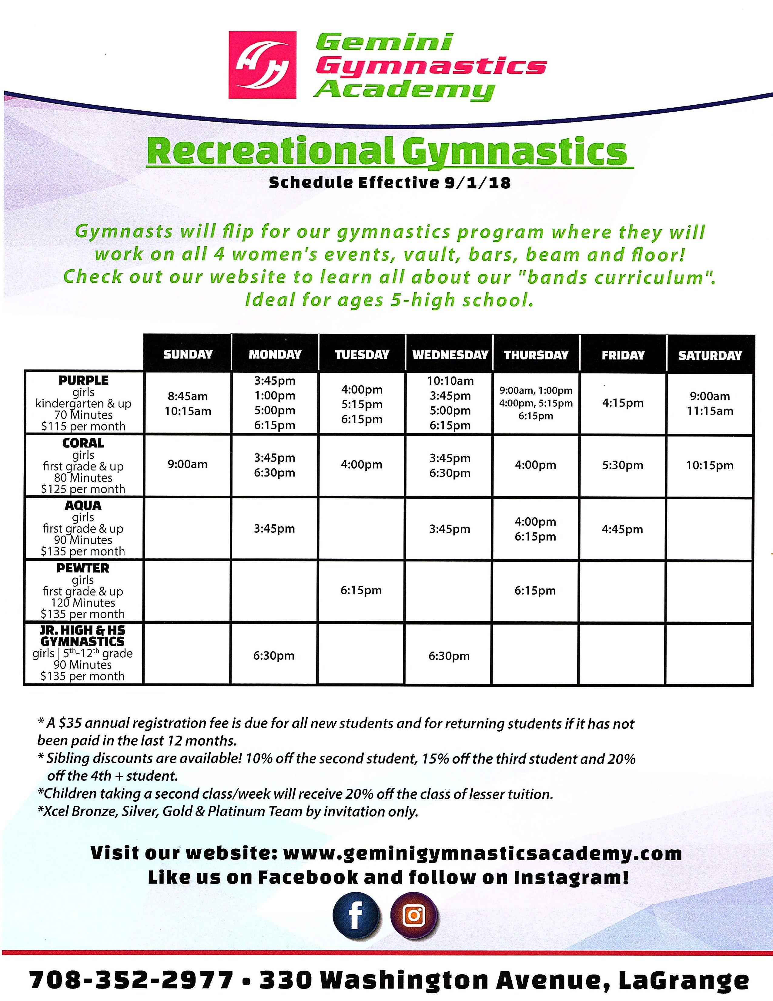 Rec gymnastics schedule