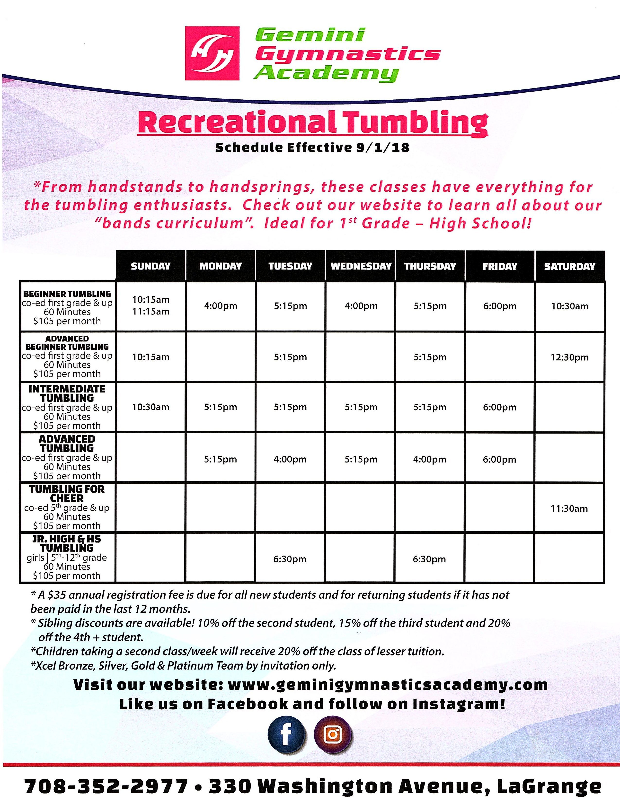 Recreational Tumbling schedule