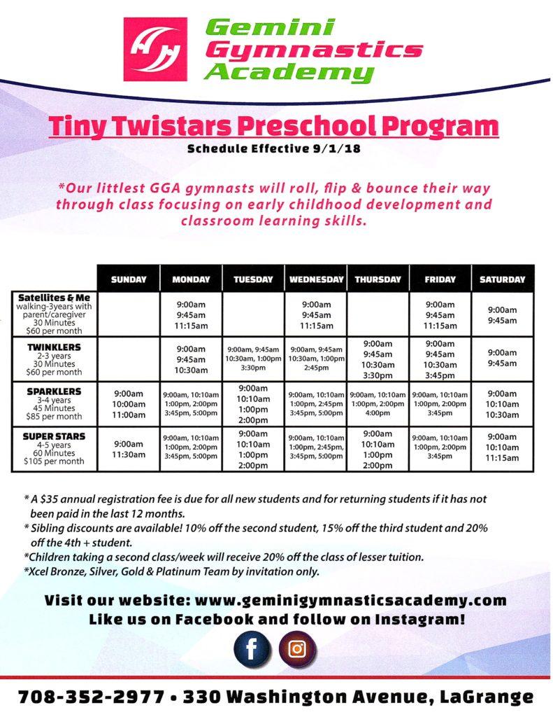 Tiny Twistars schedule