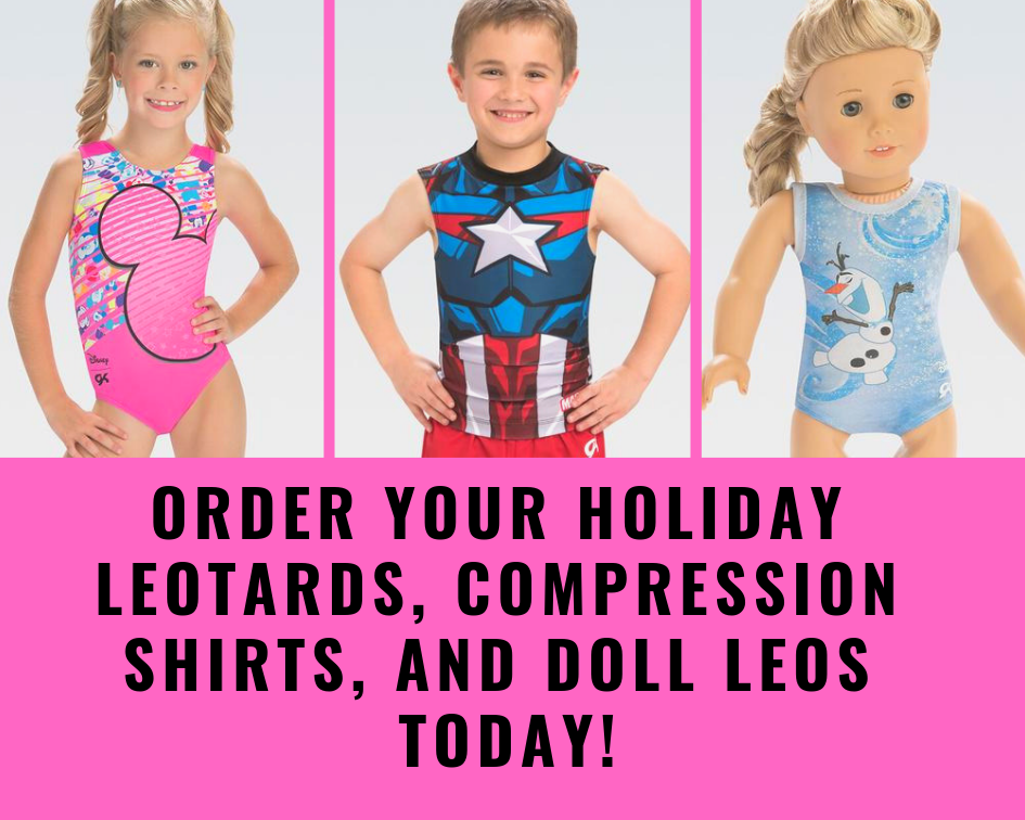 order your holiday leotards, compression shirts, and doll leos today!