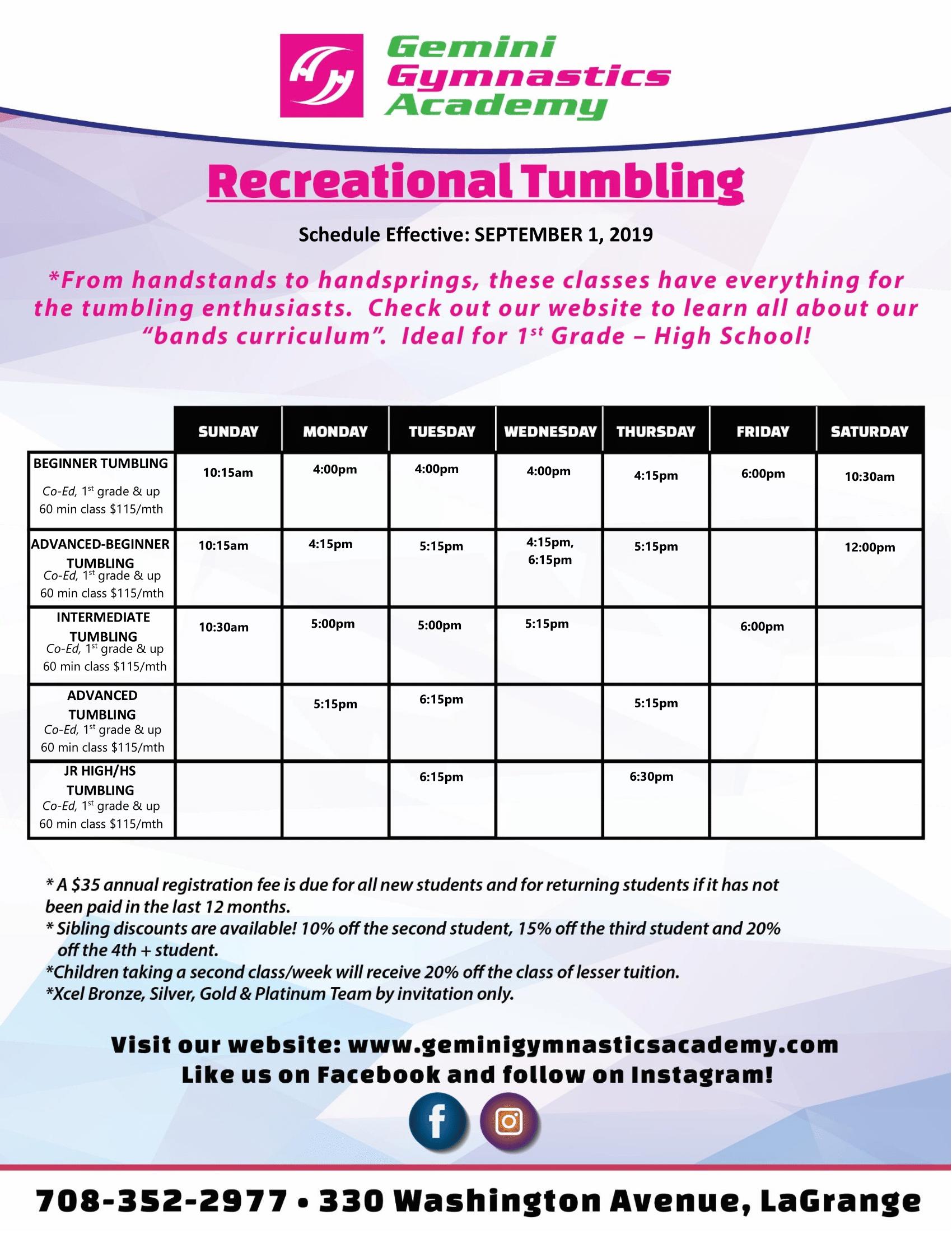 9_2019_Gemini Gymnastics_Recreational Tumbling_Schedule_-1