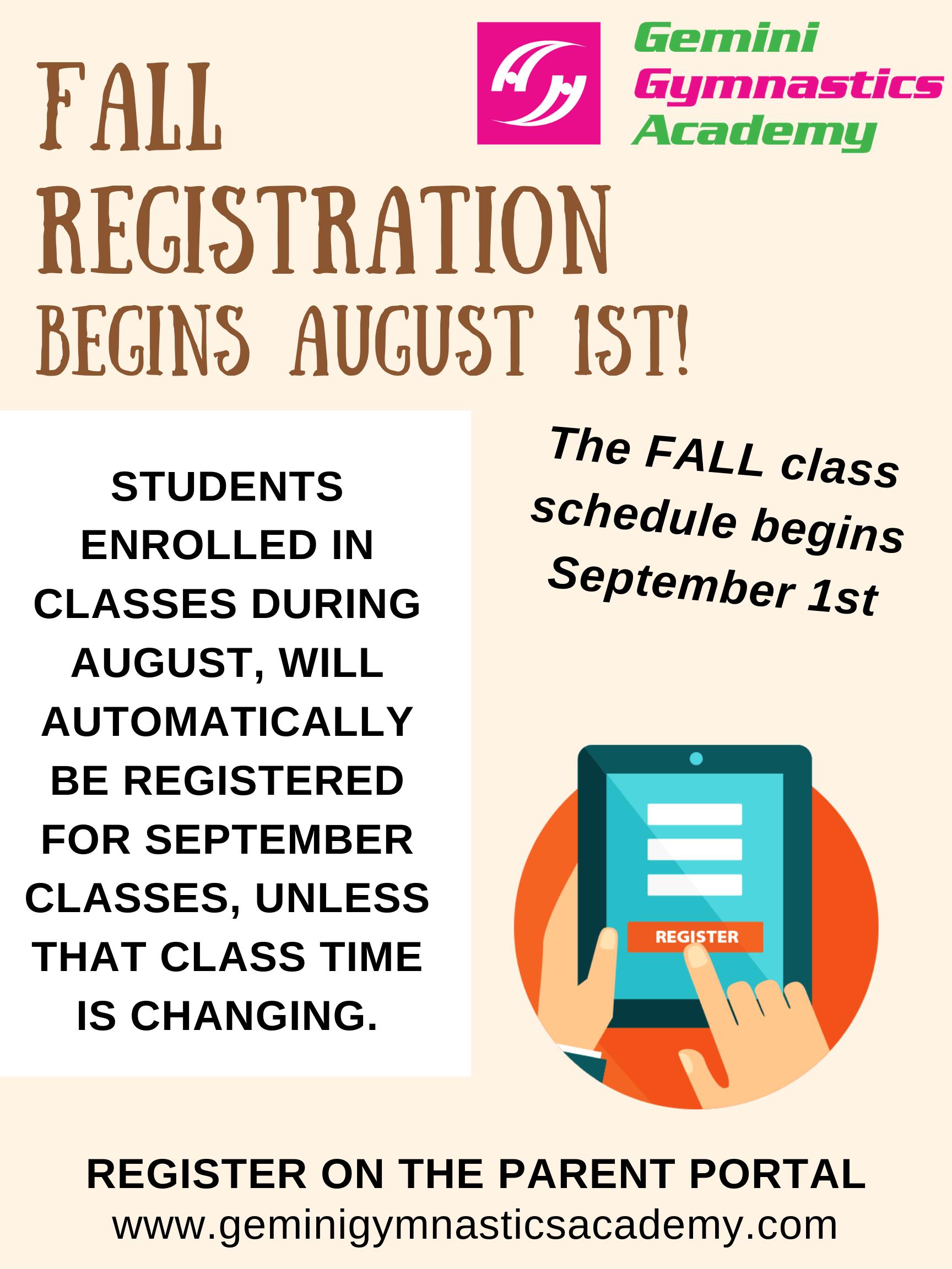 Fall registration 2019