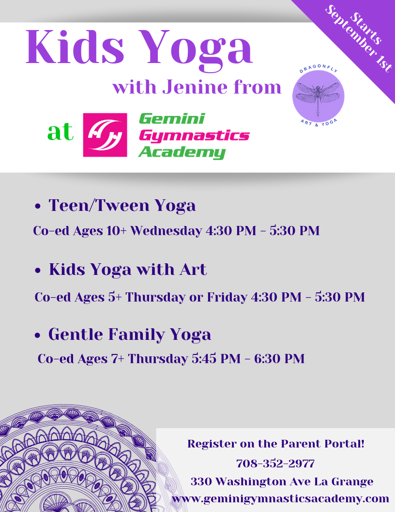 Kids Yoga schedule