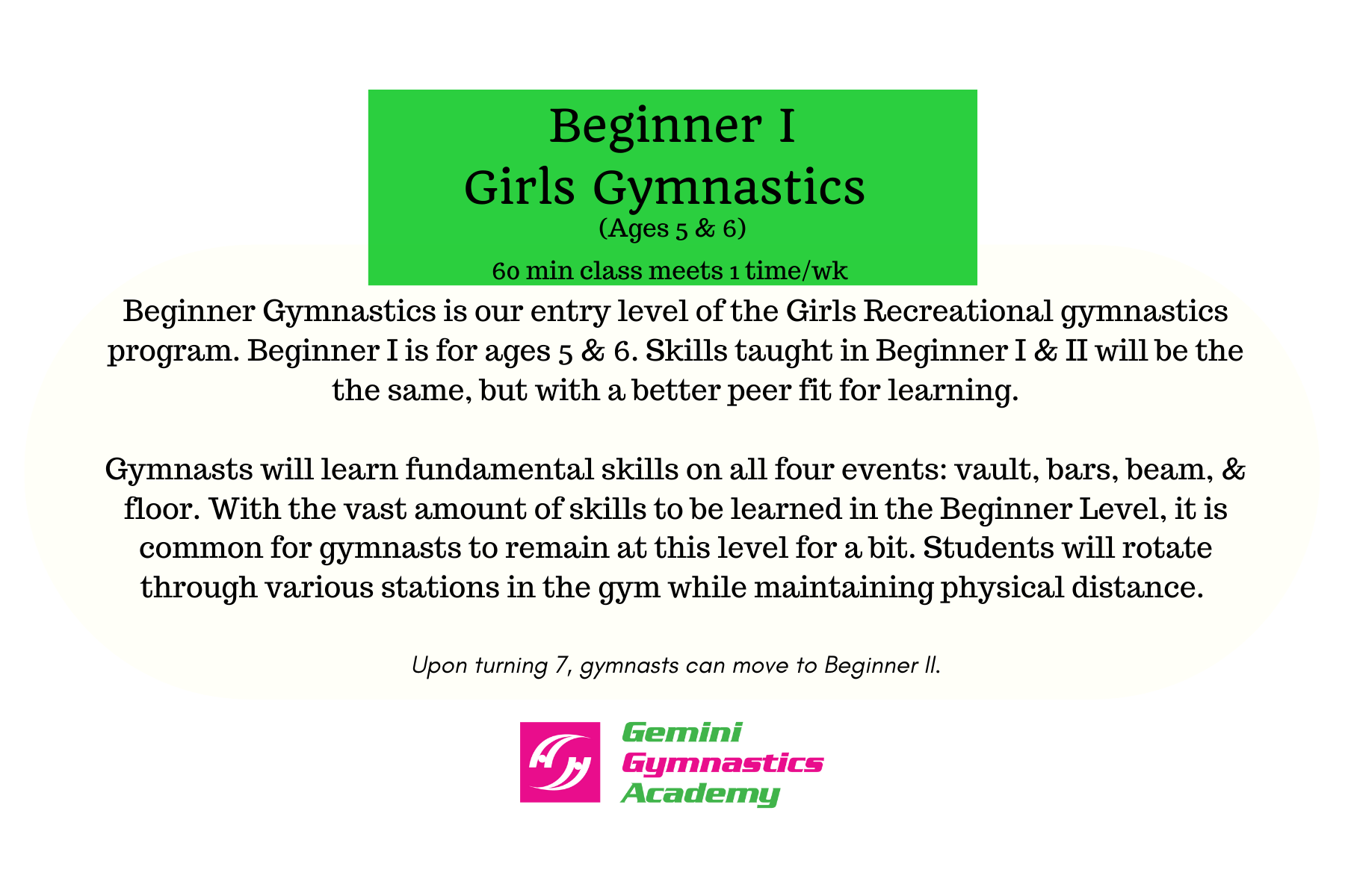 Beg gymnastics I