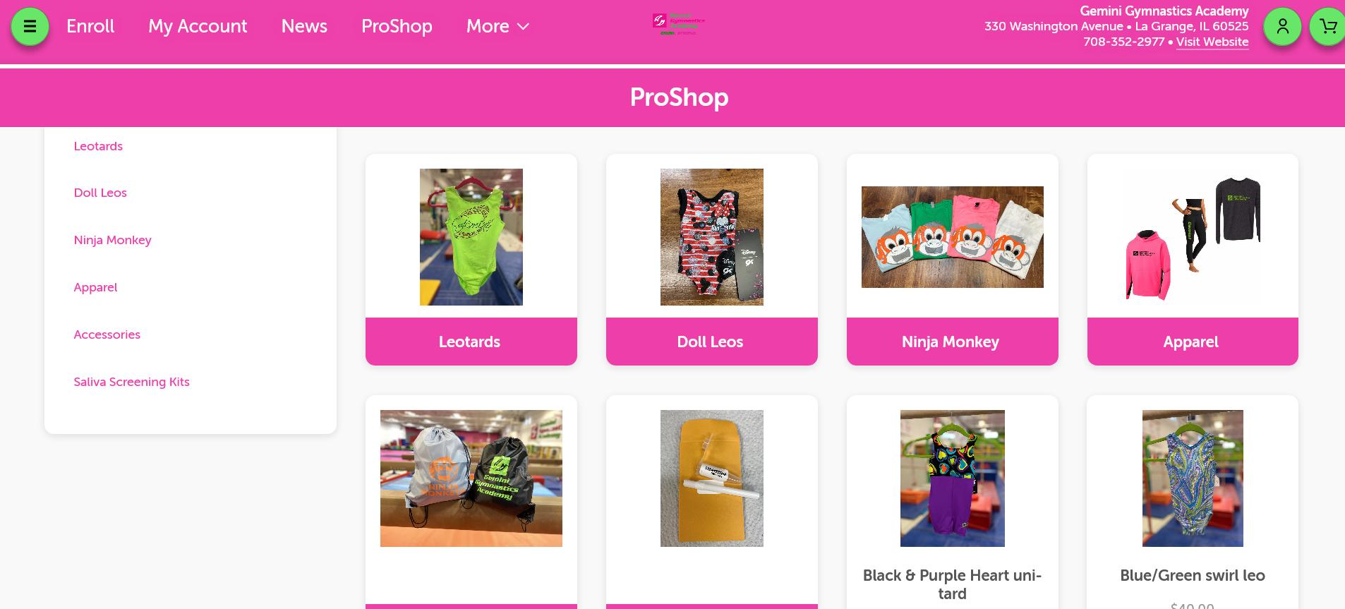 Screenshot ProShop Customer Portal